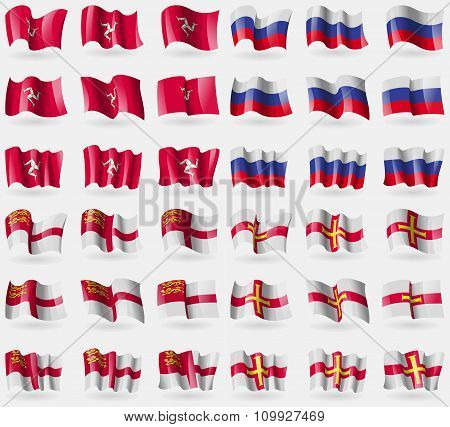 Isle Of Man, Russia, Sark, Guernsey. Set Of 36 Flags Of The Countries Of The World.