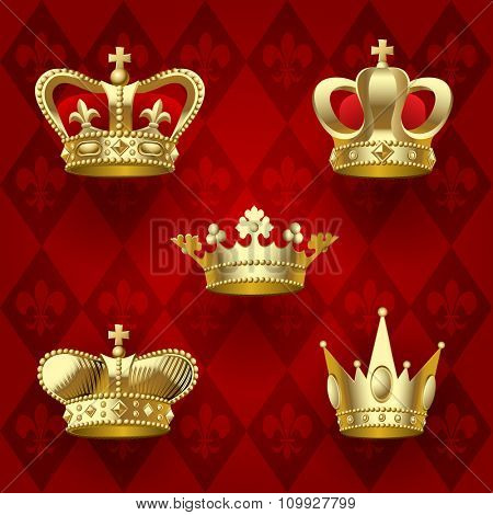 Set of gold shining crowns on dark red background. Retro design elements. Vector Illustration
