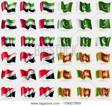 United Arab Emirates, Pakistan, Sealand Principality, Sri Lanka. Set Of 36 Flags Of The Countries