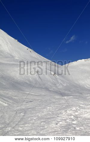 Snowy Skiing Piste In Nice Sun Day