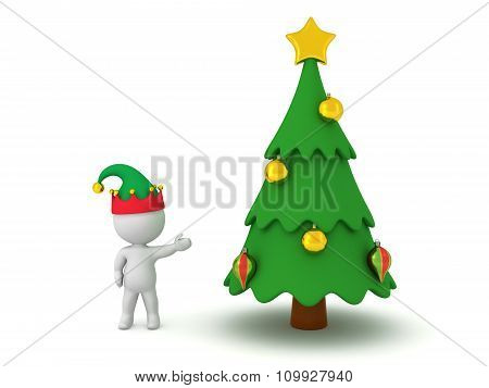 3D Character With Elf Hat Showing Decorated Cartoonish Christmas Tree
