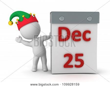 3D Character With Elf Hat Waving From Behind Tare Off Calendar With December 25