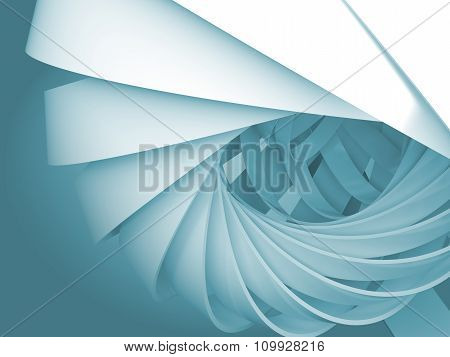 Blue Digital Background With 3D Spiral Structures