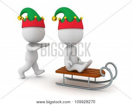 3D Character With Elf Hat Pushing Another 3D Character On A Sled