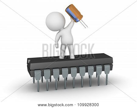 3D Character Standing On Microchip And Holding A Capacitor