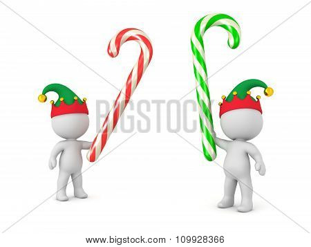 3D Characters With Elf Hats Fighting With Candy Canes