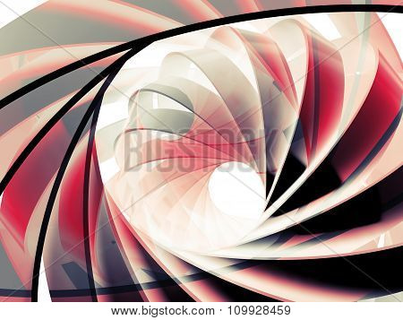 Abstract Digital Background With 3D Red And Black Spiral