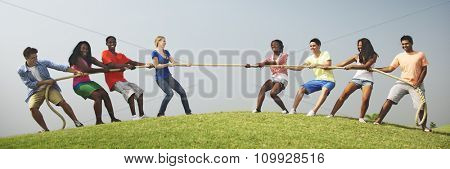 Group Casual People Playing Tug War Concept