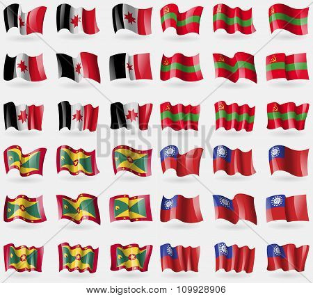 Udmurtia, Transnistria, Grenada, Myanmarburma. Set Of 36 Flags Of The Countries Of The World.