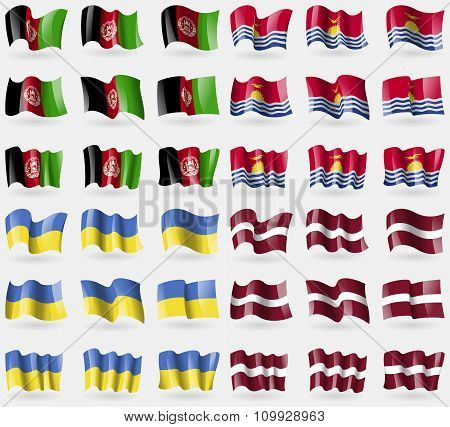 Afghanistan, Kiribati, Ukraine, Latvia. Set Of 36 Flags Of The Countries Of The World.