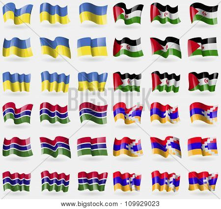 Ukraine, Western Sahara, Gambia, Karabakh Republic. Set Of 36 Flags Of The Countries Of The World.