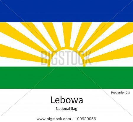 National flag of Lebowa with correct proportions, element, colors