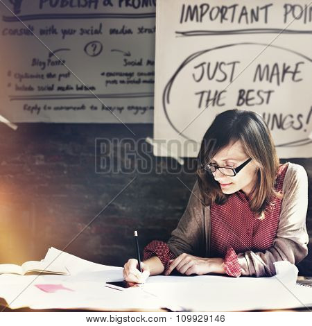 Architecture Woman Working Blue Print Workspace Concept