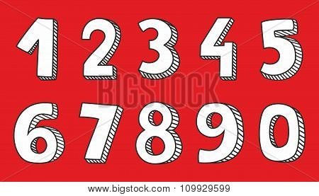 Vector white numbers on red background