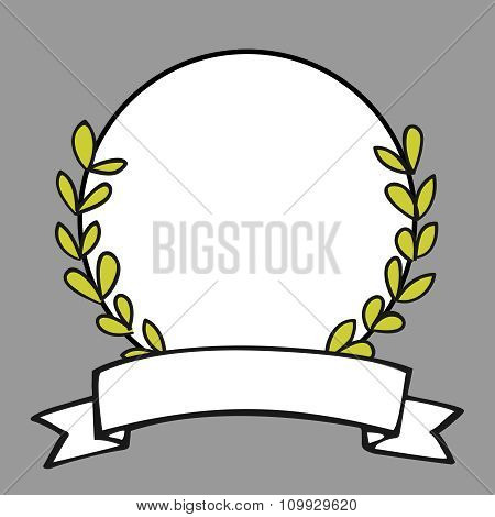 Laurel wreath vector frame on grey background