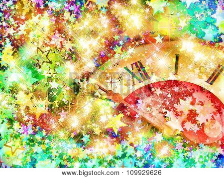 Eve Of New Year.clock Face And Multicolored Shining Stars.