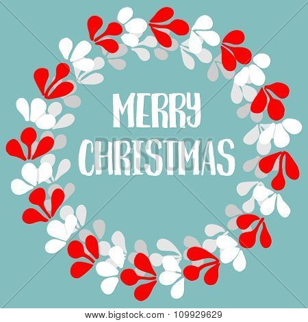 Vector card with wreath and Merry Christmas wishes