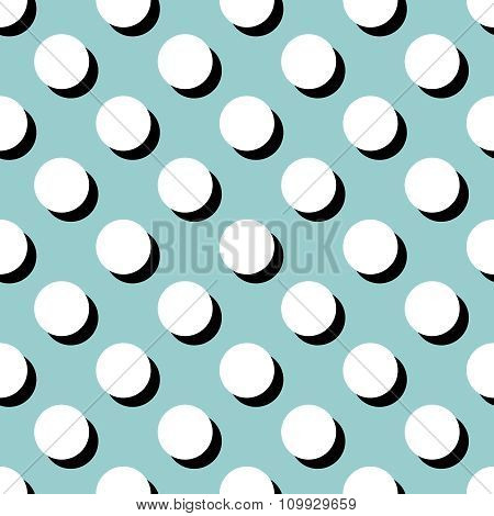 Tile vector pattern with big white polka dots on mint green background