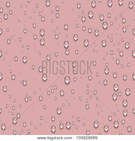 Water Transparent Drops Seamless Pattern and Pink Background