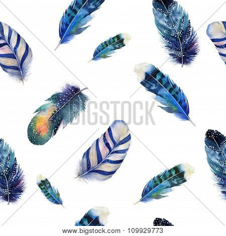 Watercolor birds feathers boho pattern. Seamless texture with ha