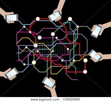 abstract vector illustration with cell phones connection