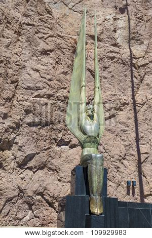Winged Statue At Hoover Dam, Nevada-arizona Border, Usa