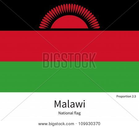 National flag of Malawi with correct proportions, element, colors