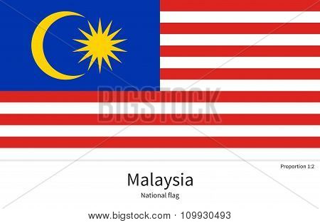 National flag of Malaysia with correct proportions, element, colors