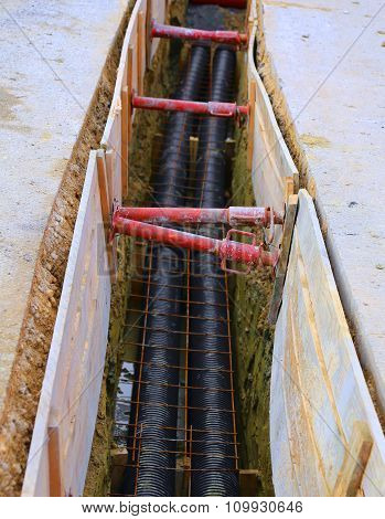 Polyethylene Pipes In The Excavation Of The Road Construction Site For The Installation