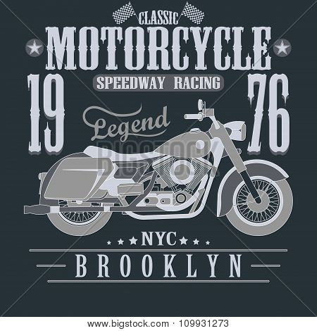 Motorcycle Racing Typography Graphics. Brooklyn Speedway Racing.