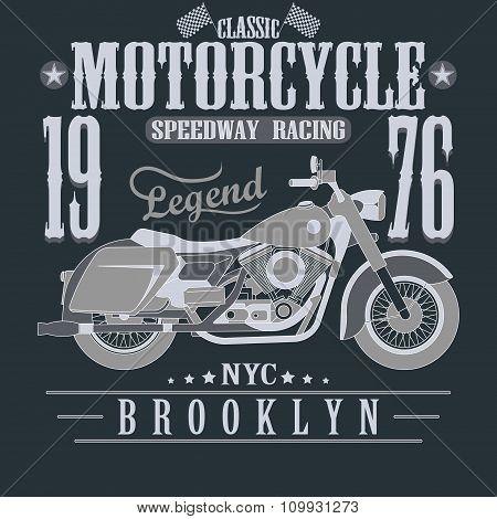Motorcycle Racing Typography Graphics. Brooklyn Speedway Racing.