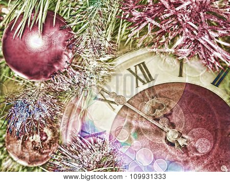 Eve Of New Year.clock Face And Christmas Balls.