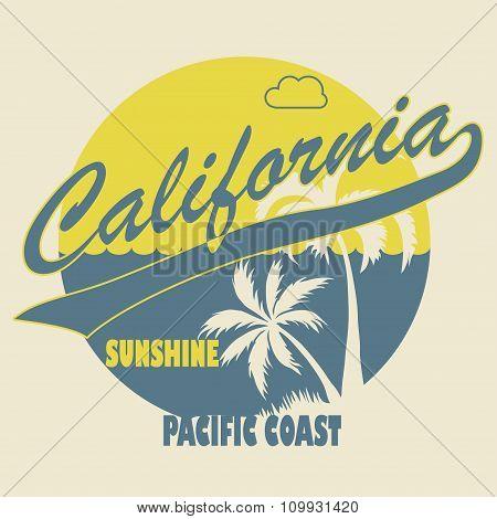 California Typographic t-shirt fashion design