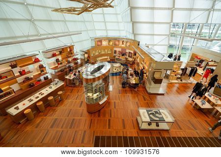 SINGAPORE - NOVEMBER 08, 2015: inside the Louis Vuitton store. Louis Vuitton is a French fashion house, one of the world's leading international fashion houses
