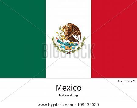 National flag of Mexico with correct proportions, element, colors