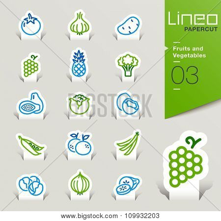 Lineo Papercut - Fruits and Vegetables outline icons