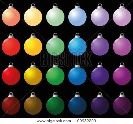 Colorful Christmas Balls Set Icon