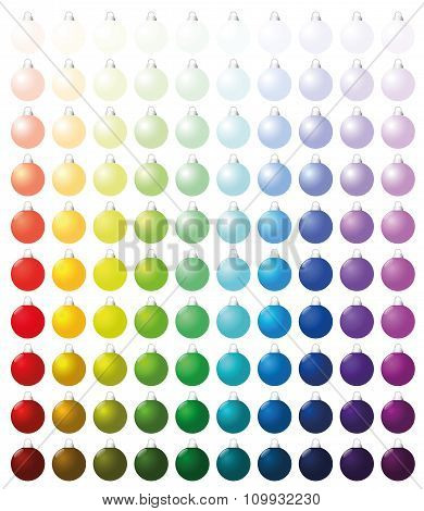 Christmas Balls Collection Icons Colors Hundred