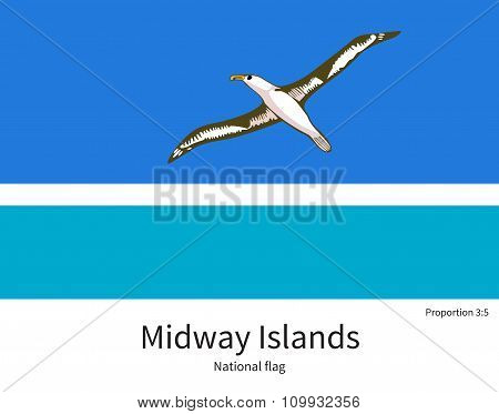 National flag of Midway Islands with correct proportions, element, colors
