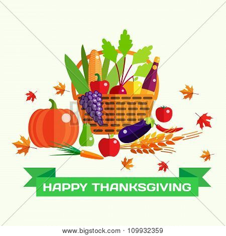 Happy Thanksgiving day vector greeting card with harvest, pumpkin, vegetables, falling autumn leaves