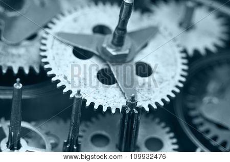 Gearwheels Inside Clock Mechanism. Macro