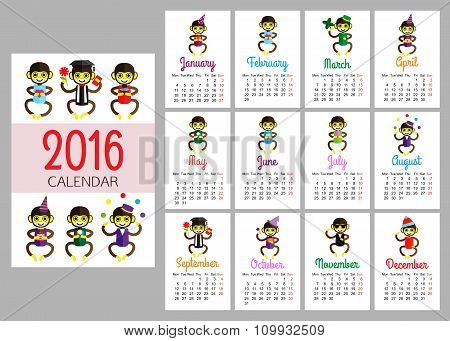 calendar vector print template with funny monkeys wearing different clothes. The year on Monkey. Car