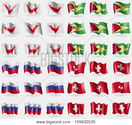 Easter Rapa Nui, Guyana, Russia, Switzerland. Set Of 36 Flags Of The Countries Of The World.