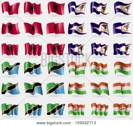 Albania, American Samoa, Tanzania, Niger. Set Of 36 Flags Of The Countries Of The World.