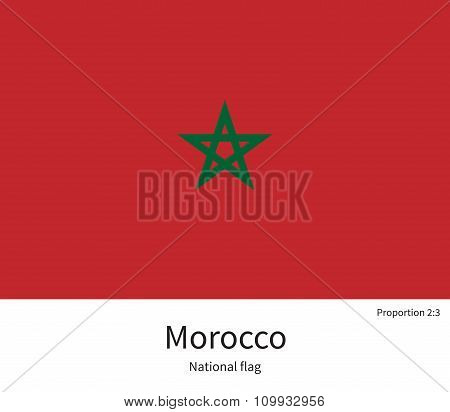 National flag of Morocco with correct proportions, element, colors