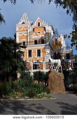 SOCHI, RUSSIA - SEPTEMBER 30, 2015: Reconstructed cottage of V. A. Khludov in the park Riviera, Vasily Khludov founded this park in 1898