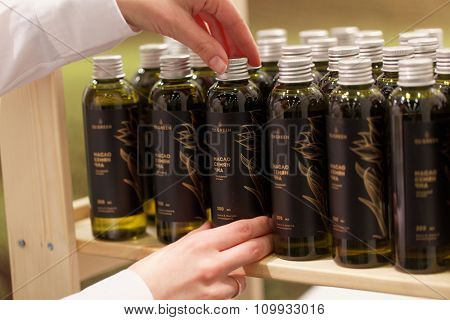 ST. PETERSBURG, RUSSIA - NOVEMBER 18, 2015: Chia seed oil in the International food exhibition PeterFood. The exhibition is setting up contacts between food manufacturers and retail networks