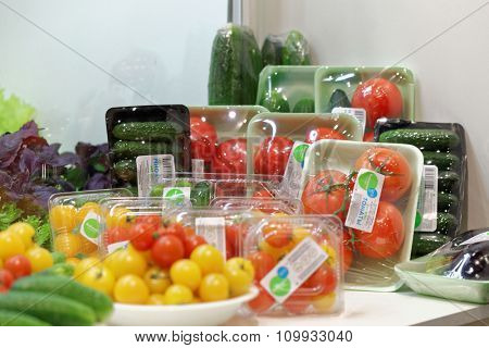 ST. PETERSBURG, RUSSIA - NOVEMBER 18, 2015: Vegetables in the International food exhibition PeterFood. The exhibition is setting up contacts between food manufacturers and retail networks