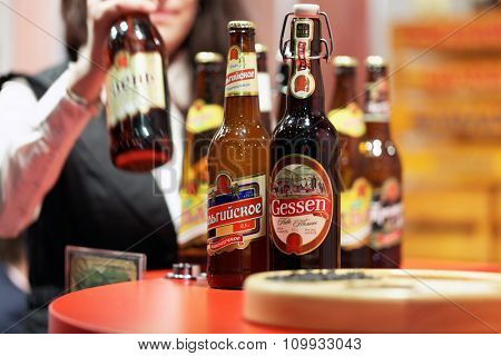 ST. PETERSBURG, RUSSIA - NOVEMBER 18, 2015: Beer in the International food exhibition PeterFood. The exhibition is setting up contacts between food manufacturers and retail networks
