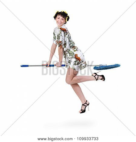 homemaker on a broom